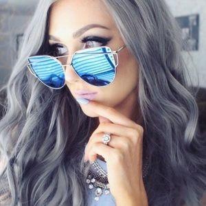 Blue Lens Silver Frame Cat Eye Aviator Sunglasses